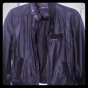 Members Only faux Leather Black Bomber